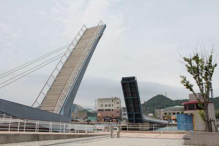 Blue wing bridge, Mojiko, Fukuoka, Japan Stock Photo