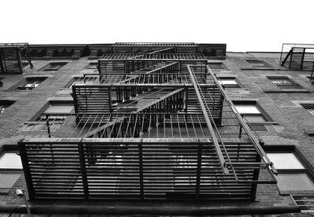 escape: A fire escape outside a building in New York City Stock Photo