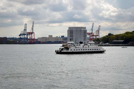 staten: A ship near Staten Island Stock Photo