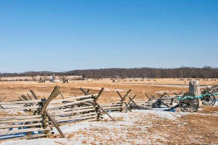 gettysburg battlefield: A  wooden fence barrier in Gettysburg