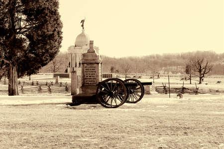 gettysburg battlefield: A monument in Gettysburg Stock Photo