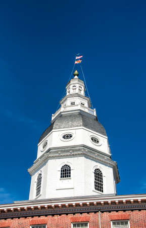 steeple: An historic steeple on a building