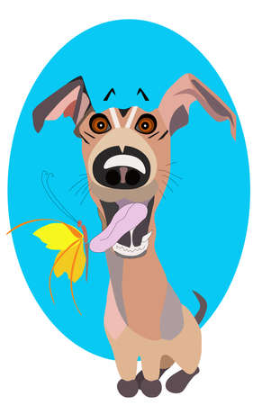 Vector cartoon clip art illustration of a cute and happy puppy.