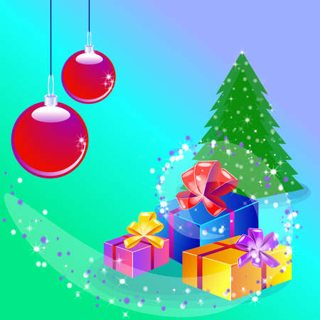 Christmas background with decorated tree and gift boxes. Colorful flat presents for holiday. Modern design. Christmas and New Year elements for decoration.