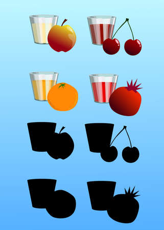 Set of fresh juices with fruits