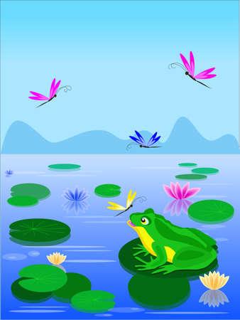 lily pad: Cartoon green frog sitting on a lily leaf