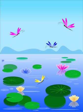 Vector lake with lilies and dragonflies Illustration