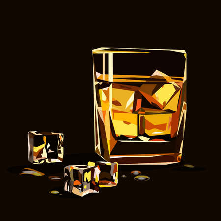scotch whisky: Glass of whiskey isolated with ice cubes