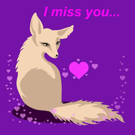 vector fox in love with words Miss you