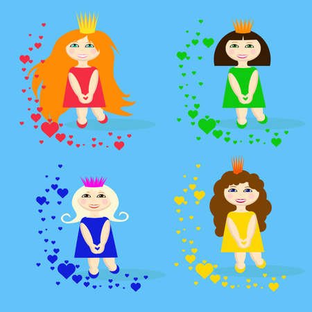 nice girls: set of small princesses with hearts Illustration