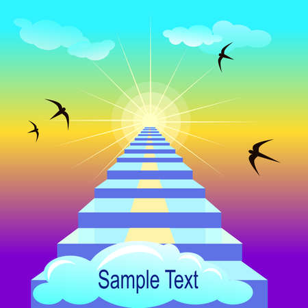 Staiway to heaven. Vector illustration with sample text Illustration