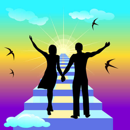 Vector illustration of people silhouettes on the staicase to heaven Stock Photo