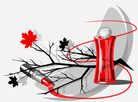 Vector still life with a bottle of perfume, lipstick, branch and marple leaves Illustration