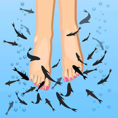 Vector feet peeling by fish, pedicure procedure in flat style