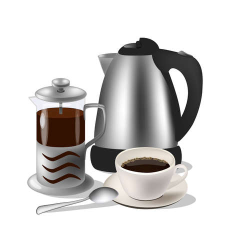 modern kitchen: Vector illustration of coffe set. Kettle, french press and cup with spoon Illustration