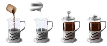vector illustration instruction how to make coffee in french press, Manual in four steps Çizim