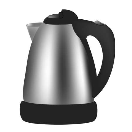Vector electric kettle on white background.