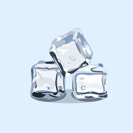 Ice cubes, vector EPS 10 isolated on the lishe blue background