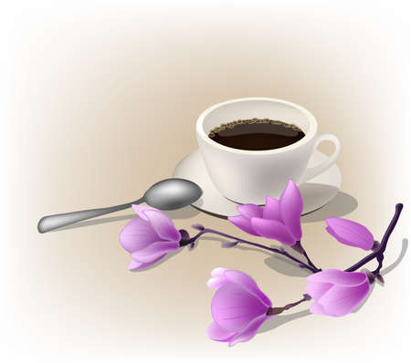 Vector illustration, cup of coffe espresso and a magnolia branch.