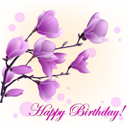 Vector Illustration of magnolia and words happy birthday isolated
