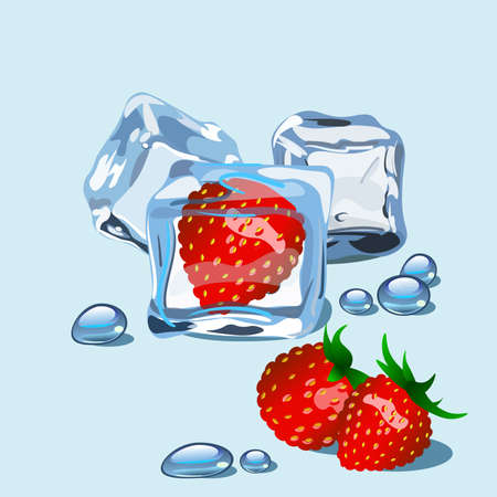 Strawberry frozen in ice cube with drops of water isolated.