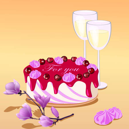 Vector illustartion of cake, two glasses and magnolia, text words for you