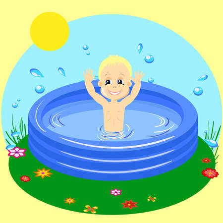 vector Illustration of a Young Boy Happily Swimming in rubber pool