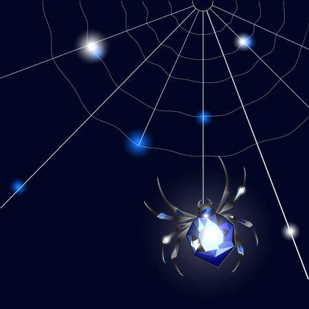 Sapphire Spider and web on black background with glimpses Ilustração