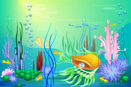 Vector onderzeese wereld met een gouden zeeschelp en vis. Verschillende zeewieren en een blauwe parel