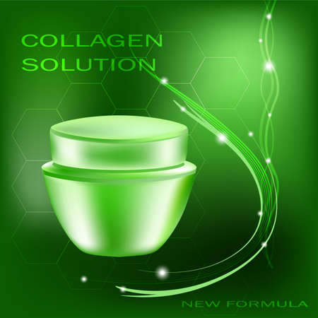 Vector cream jar with glares and light on the green background, collagen solution Illustration