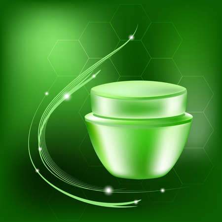 Vector cream jar with glares and light on the green background,