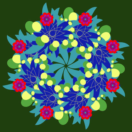 Abstract vector circle floral ornamental fracatl isolated Illustration