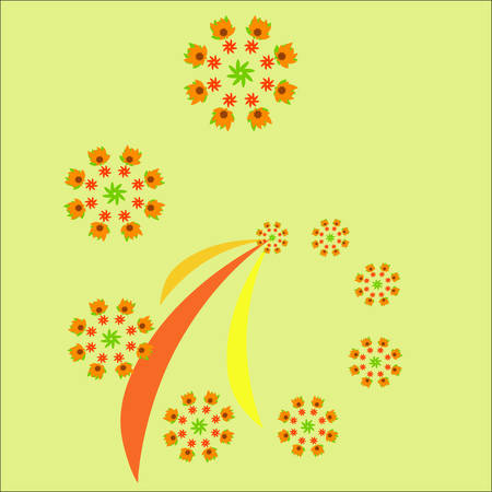 Autumn fractal isolated on the light background. Vector patter for design. Illustration
