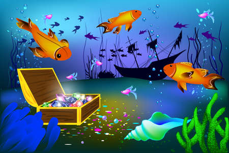 Undersea vector illustration with sunk ship and chest with gems and big fishes Illustration