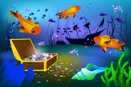 Unterwasser-Vektor-Illustration mit versenkten Schiff und Brust mit Edelsteinen und großen Fischen Standard-Bild - 84138178