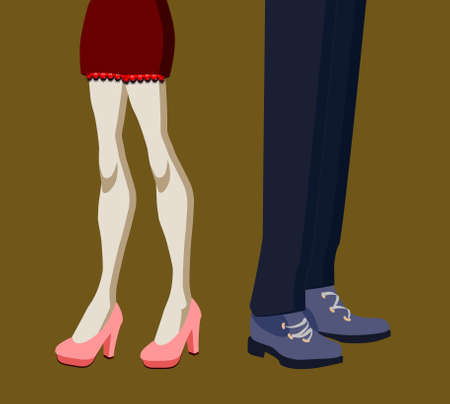 man and woman legs in quarrel position isolated