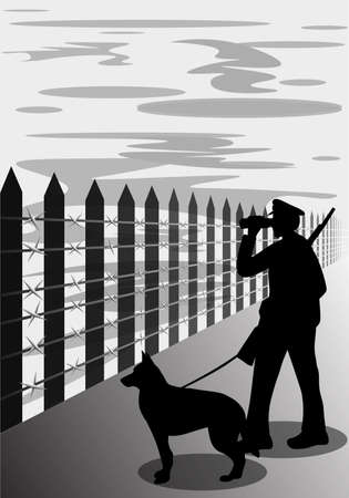 Border guard with dog silhouette, vector illustration