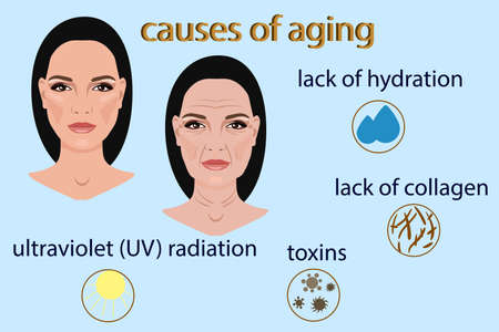Causes of aging, vector illustration with two faces and small pictures isolated