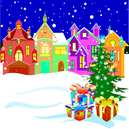 winter town street with chrismas tree and gifts Illustration