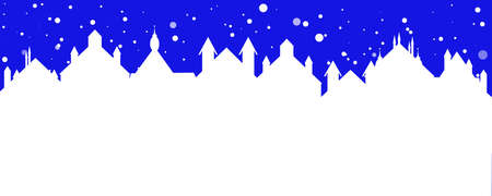 christmas banner of a street town with falling snow Ilustrace