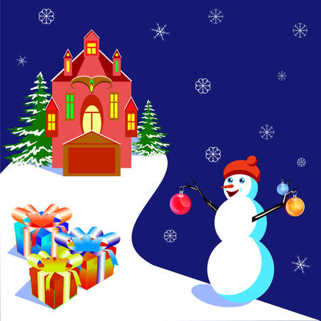 Vector illustratiob with a house and a snowman, for banners and card 向量圖像
