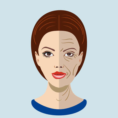 Vector aging process, face with two types of skin, young and old
