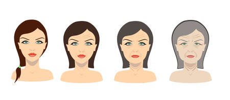 Vector aging process. Young girl and older woman illustration.