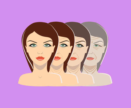 Vector aging process. Four stages of face changing on the purple background isolated Illustration