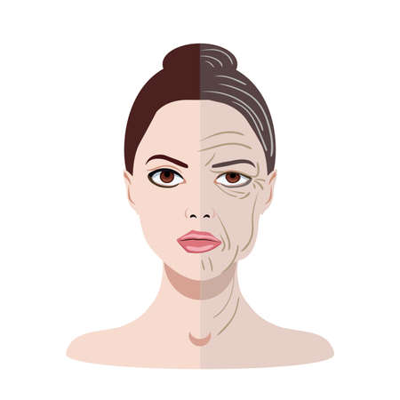 Vector face with two types of skin, young and old isolated Illustration