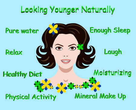 Vector illustration with advice how to stay young and a face of a girl