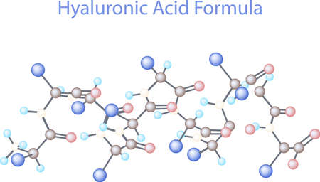 Vector infographics scientific background. Hyaluronic Acid Research illustration Ilustração