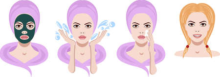 Vector set of icons with facial skin treatment and care for cosmetology Illustration