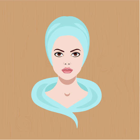 Vector illustration with a face of girl with towel on head for spa salons and cosmetology, isolated on wooden background Illustration