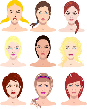 Pretty vector illustrations of beautiful young girls with various faces and hair style for avatars Illustration